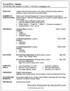 search free resume template for microsoft word