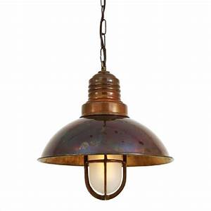 Nautical, Ship, Deck, Ceiling, Pendant, Light, In, Antique, Brass, With, Chain