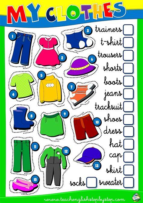 esl worksheet clothes   pack english step