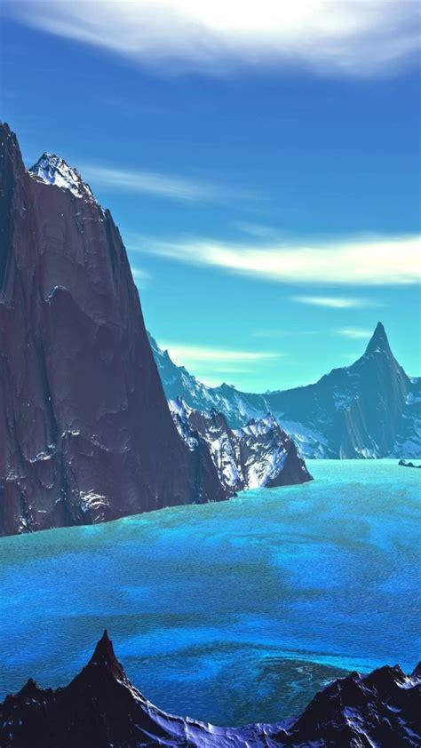 lake blue landscape artistic vn wallpaper
