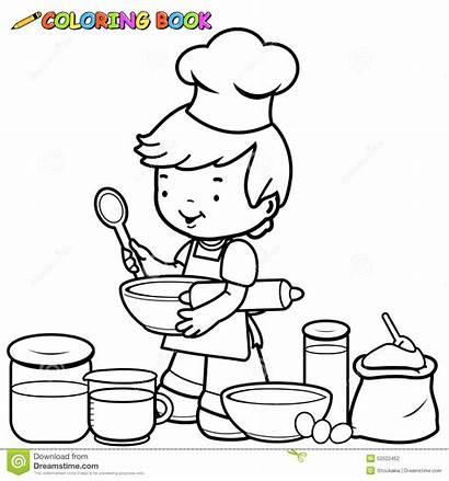 Coloring Kitchen Boy Chef Cook Utensils Preparing