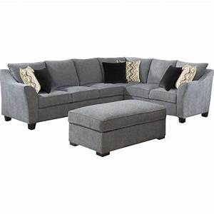 Wrapped in pepper gray hued upholstery and showcasing a for Sectional sofa joss and main