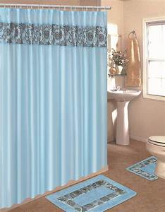 Home dynamix home design shower curtain and bath rug set for Bathroom shower curtain and rug set