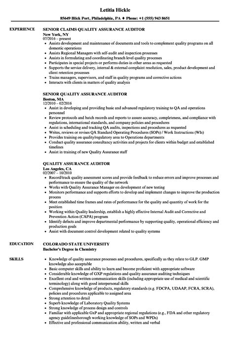 Quality Assurance Auditor Resume Samples  Velvet Jobs