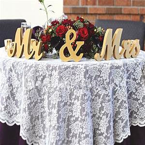 Gold Wooden Mr & Mrs Standing Letters Wedding Table