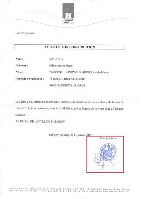 bureau de change 7 attestation d inscription sur les listes électorales