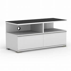 Meuble Tv Ecran Plat : elmob pardus pr 110 02 blanc meuble tv elmob sur ~ Teatrodelosmanantiales.com Idées de Décoration