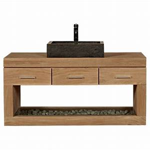 Meuble Tiroir Salle De Bain : meuble sous vasque suspendre teck 3 tiroirs 1 niche meuble ~ Edinachiropracticcenter.com Idées de Décoration