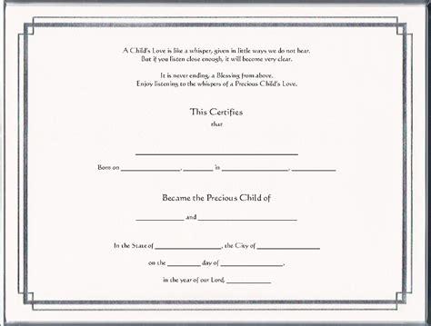 Adoption Certificate Certificate Adoption Certificates Pg 1 Foil