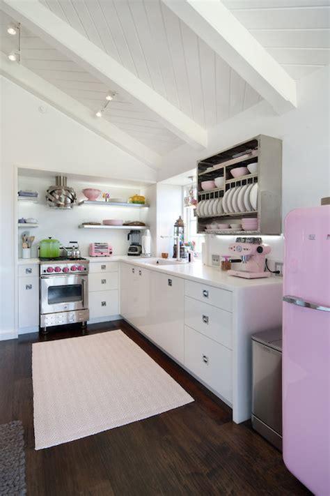 pink smeg fridge eclectic kitchen jessica risko smith interior design