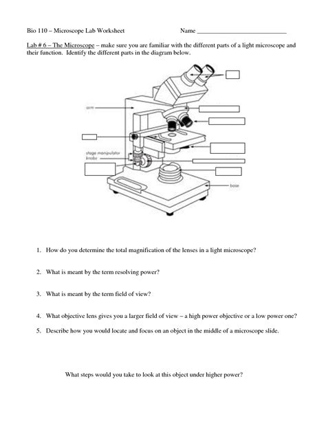 12 Best Images Of Microscope Parts Worksheet Answers  Microscope Parts Worksheet, Compound