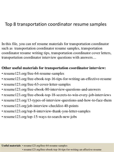 Transportation Planner Resume by Top 8 Transportation Coordinator Resume Sles