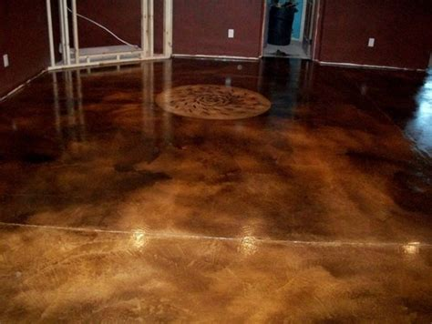 acid stain floor basement  cement wall design