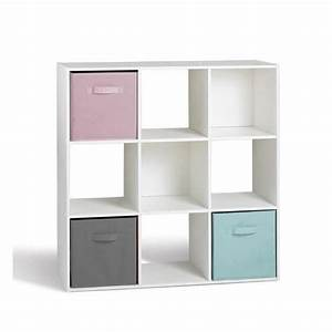 compo meuble de rangement 9 cases contemporain blanc l With meuble a cases de rangement