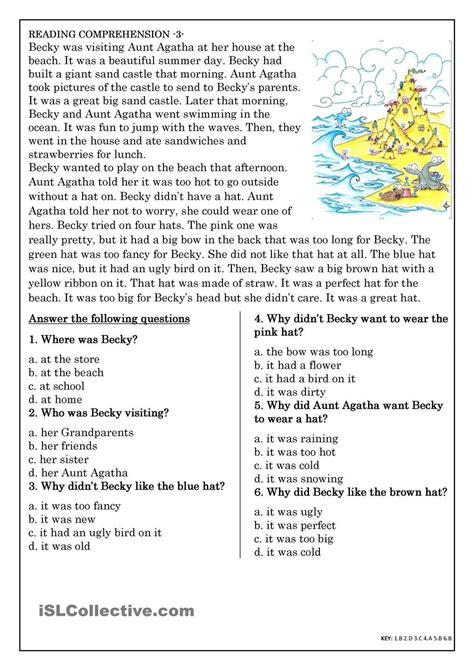 Reading Comprehension For Beginner And Elementary Students 3  English Grammar Pinterest