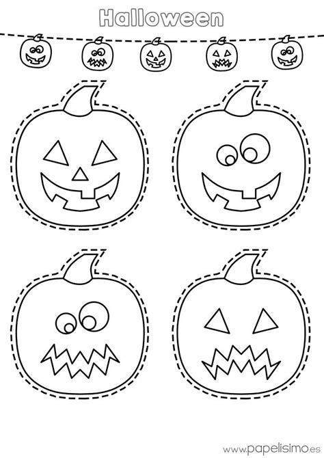 Dibujos Halloween Dibujo Calabazas Colorear Y Recortar Halloween Halloween
