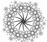 Coloring Pages Flowers Mindfulness Adult Adults Colouring Daisies Flower Fleurs Murakami Visit sketch template