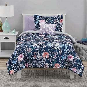 mainstays, navy, floral, bed, in, a, bag, coordinating, bedding