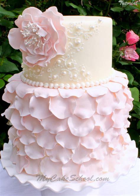 elegant fondant petal cake tutorial  ruffled flower