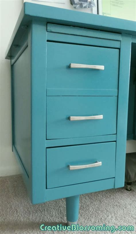 silver desk with drawers vintage wood tanker desk paint makeover to teal and silver
