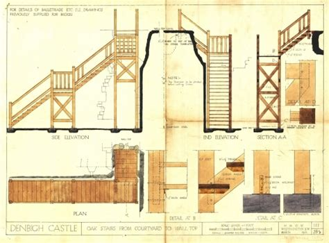 Awesome Plans Elevation And Section Drawings Of Stairs To