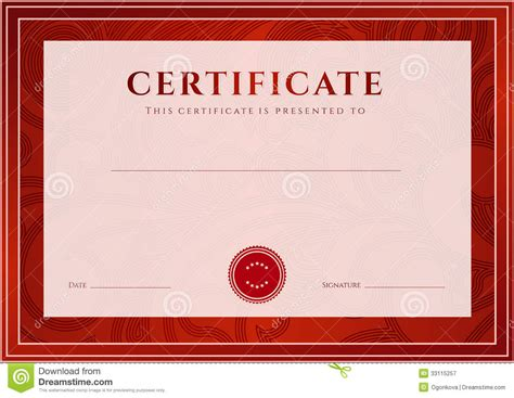 red certificate diploma template award pattern stock