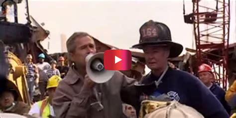 George Bush Speaking Bullhorn