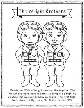 the wright brothers coloring page craft or poster stem