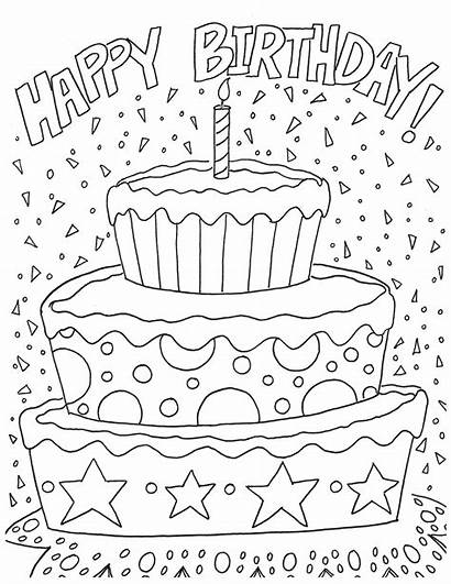 Coloring Birthday Pages Cake Celebration Happy Printable
