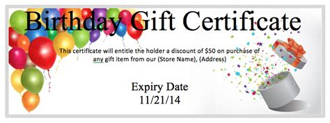 birthday coupon gift coupon templates ms office guru