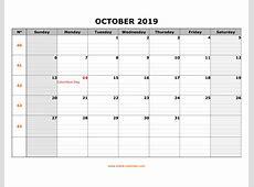 Free Download Printable October 2019 Calendar, large box