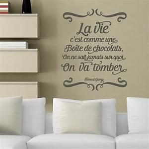 stickers muraux citations francaises resine de With affiche chambre bébé avec envoie fleurs et chocolat