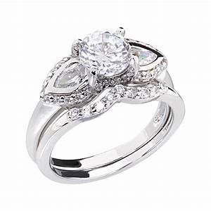 Cubic zirconia platinum tone three stone women engagement for Three stone wedding ring set