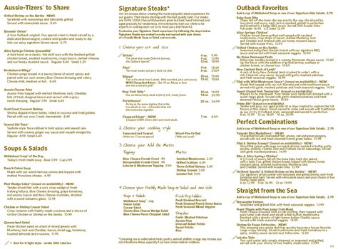 menu  outback steakhouse   federal hwy fort