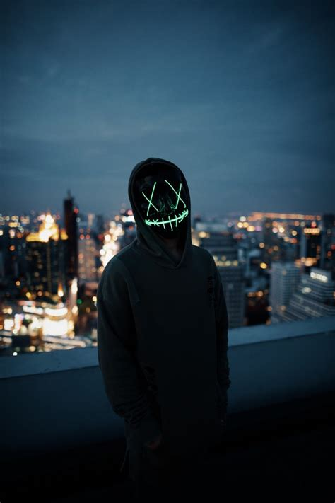 mask cityscape hoodie anonymous