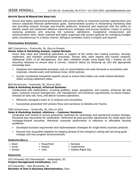product analyst resume sle 28 images resume for
