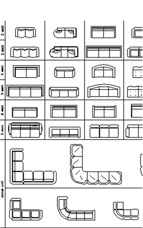 furniture cad blocks sofas  elevation view