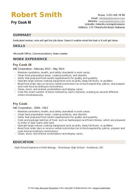 fry cook resume samples qwikresume