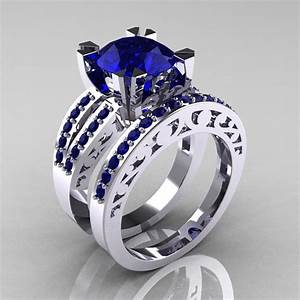 Modern vintage 14k white gold 30 carat blue sapphire for Sapphire engagement ring and wedding band set