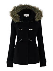 vila women s duffle coat with fur hood marine in navy