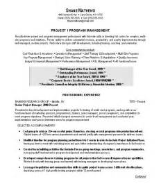 it project management resume objective project manager resume sle exle