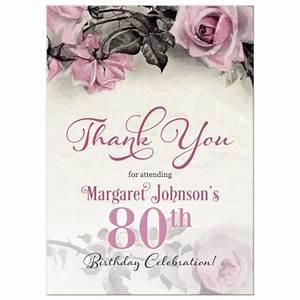 80th Birthday Invitation Sayings 80th Birthday Thank You Card Vintage Pink Grey Rose