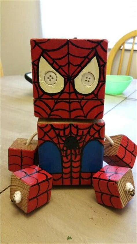 spider wood toy natural wood wood robot diy toy