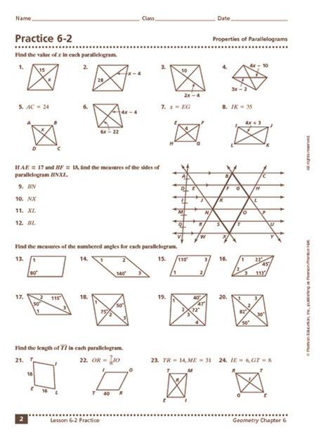 practice   properties  parallelograms worksheet