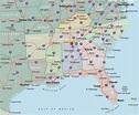 Southeastern Map Region Area