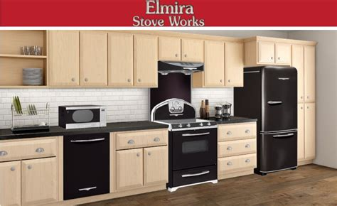 black appliances go with any cabinet colors start with light wood for some contrast or