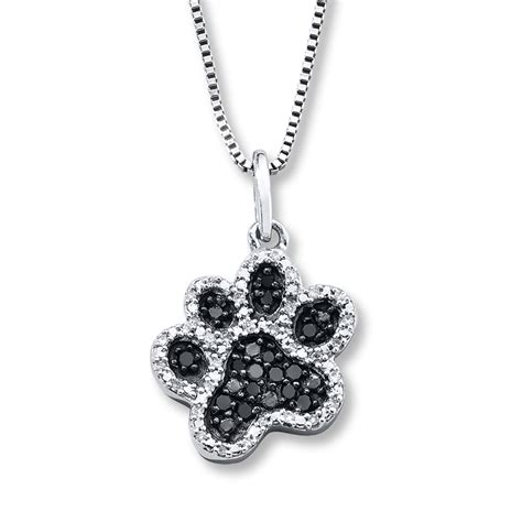 blackwhite diamonds  ct tw paw necklace sterling