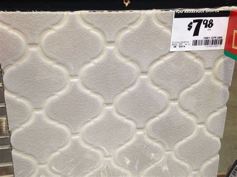 Fog Arabesque tile from Home Depot. Potential backsplash