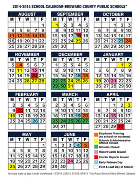 school calendar broward county public schools