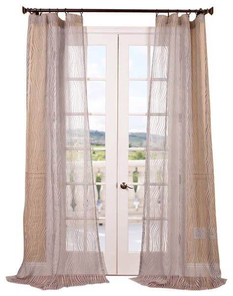 piera taupe gray patterned sheer curtain contemporary